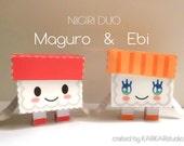 Sushi doll - nigiri duo - tuna shrimp - candy box with wasabi message card
