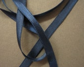 Vintage narrow ribbon navy satin ribbon fabric ribbon 50s satin ribbon 1/4 in midnight blue  Y355