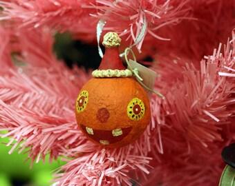 Happy Folk Art Pumpkin Ornament