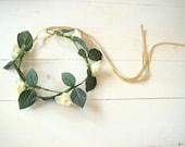 Bridal flower crown, white rose hair corwn, wedding crown