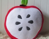 Cute Fruit, Red Apple Slice Plush,  Plush Apple, Food Pillow