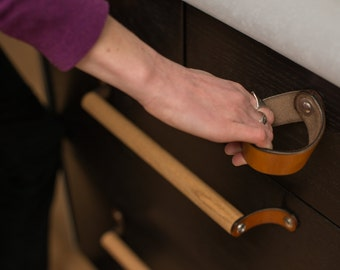 The Fremont - Leather Drawer Pull and Kitchen Cabinet Handle