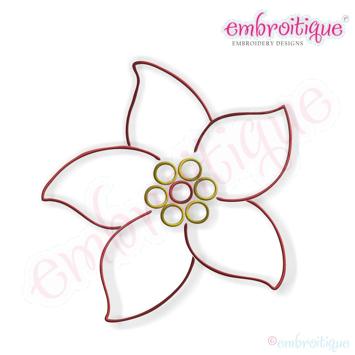 Simple Christmas Poinsettia Embroidery Design Large Instant