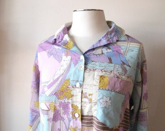 Pucci Inspired Ladies 70s Pastel Blouse, Large