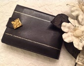 Black Cowhide Leather Wallet ~ Bi Fold Expansion Strap ~ Made In France~ Gold Filigree Closure~Unique Wallet~Coin Purse~Ladies Gift~Unusual