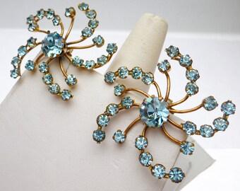 Light Blue Austrian Crystal Flower Star Burst Clip On Earrings
