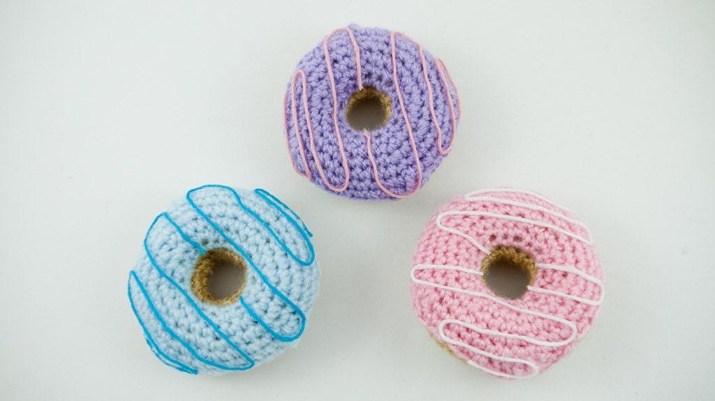 Crochet Doughnut Donut keyring amigurumi SET OF 3