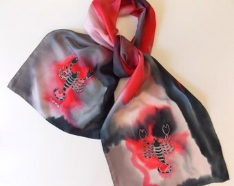 Silk Scarf,Scorpio,Astrology,Handmade,Signs of The Zodiac,14x72inches,Or Table Runner