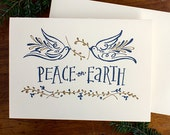Peace on Earth with doves and olive leaves - Letterpress holiday card
