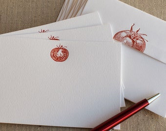 Fresh Garden Tomato Stationery Notes (Set of 10) - Letterpress Stationery Printed by Hand