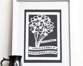Personalized Wedding Balloon Print Wall Art, personalized wedding gift, gift for bride and groom, wedding shower gift