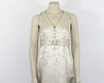 Vintage 1960s Mini Dress - Paisley Lurex Mini - 34 Bust