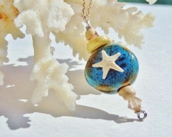 Real Starfish Necklace on a Blue Stone - Beach Candies by jessentials
