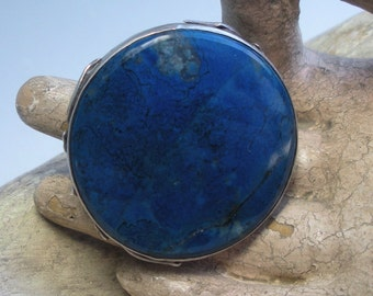 Arts and Crafts Lapis and Sterling Ring