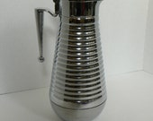 Vintage Art Deco Chrome Thermal Glass lined Beverage Carafe -- 8 Cup 1 Liter Coffee Tea Bar Dispenser