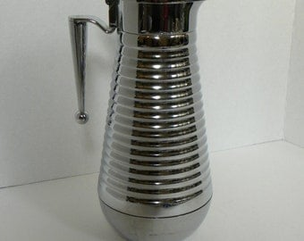 Vintage Art Deco Chrome Thermal Glass lined Beverage Carafe -- 8 Cup 1 Liter Coffee Tea Bar Dispenser