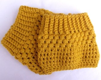 Golden Yellow Boot Socks Winter Fashion Womens Boot Socks Gifts for Teen Girls Crochet Boot Cuff Boot Topper Boot Tops Hand Crocheted Item
