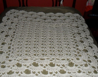 Crocheted Baby Afghan - Blanket  - Throw -  Coverlet   ''SHELLS GALORE''  in Off-white