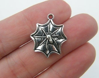 BULK 30 Spider in a spiderweb charms antique silver tone HC128