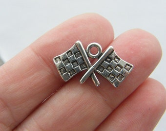 4 Checkered flag charms antique silver tone SP44