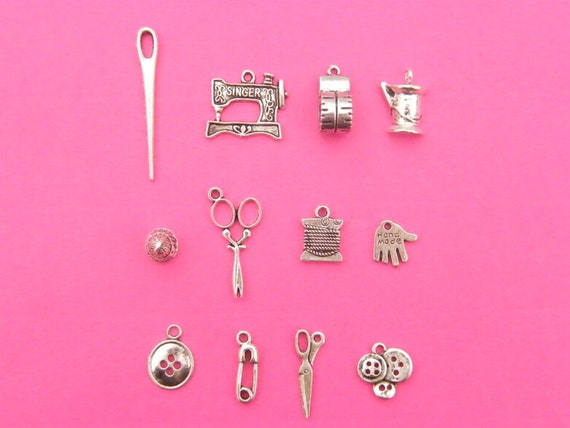 The Sewing Collection - 12 different antique silver tone charms