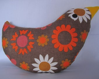 Handmade vintage bird cushion
