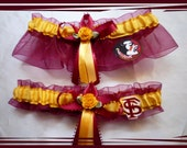Garnet and Gold Wedding Garter Set Made with Florida State Fabric