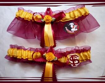 Garnet and Gold Wedding Garter Set Made with Florida State Fabric