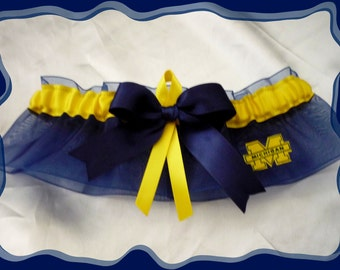 Navy Organza Ribbon Wedding Garter Made w Michigan Wolverines Fabric