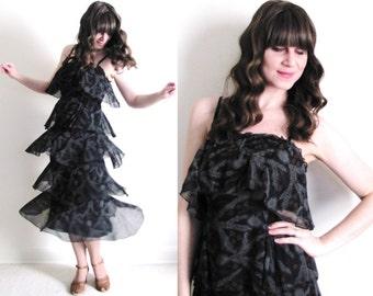 70s Dress / 70s Boho Dress / Flapper Dress