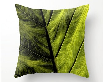 GREEN LEAF PILLOW home decor accent cushion, pillow cover, nature inspired pillow, photo pillow, scatter cushion pillow cover, cushion cover
