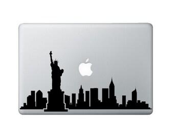 New York Skyline Macbook Decal - New York Laptop Sticker - Statue of Liberty Decal