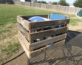 Reclaimed Wood Crate or Wooden Basket Tote Recycled Milk Crate Fence Wood