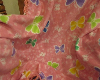 Butterflies Bright Pastel Colors Throw Afghan Blanket With Crochet Edge