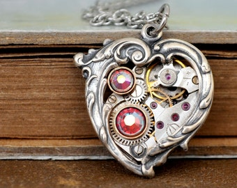 steampunk necklace, In My HEART All the TIME, Victorian style antiqued silver heart necklace with vintage watch movement with pink jewels