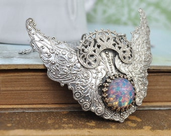 large Victorian style necklace antiqued silver - EDEN - large winged pendant with vintage glass opal cab