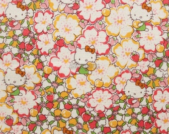 Liberty tana lawn - Floral Heart - Hello Kitty printed in Japan  - Camel yellow rose mix