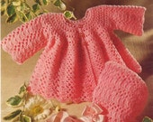 Baby CROCHET PATTERN - Jacket and Bonnet Size 19 to 20 inch chest 4 ply