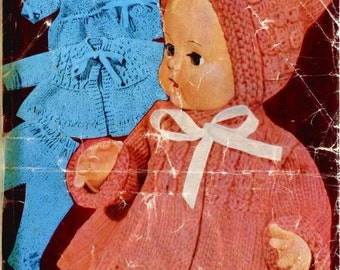Baby Doll Knitting Pattern - 16 inch doll - Complete Layette, Coat, Bonnet, Longies/Leggings, Knickers, Dress
