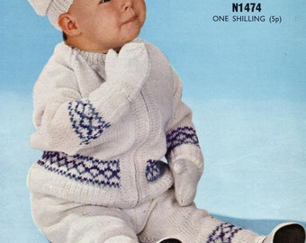 PDF Download Knitting Pattern - Baby Pram Set - Leggings, Jacket, Mitts and Cap DK - 24 in chest