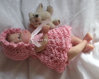 Doll Crochet Pattern - Strawberry Patch - Dress, Bonnet, Panties and Bloomers Fit 6-7 inch doll