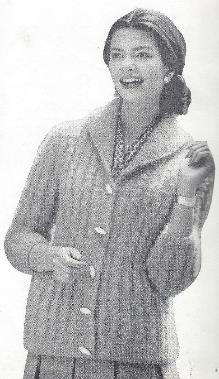 Knitting Pattern Sweater With Collar : KNITTING PATTERN Shawl Collar Cardigan Sizes 12 14 and 16