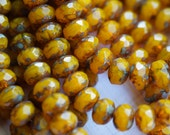 6x8mm Fire Polished Rondelle - Goldenrod Opal - Orange - Premium Czech Beads - Bead Soup Beads