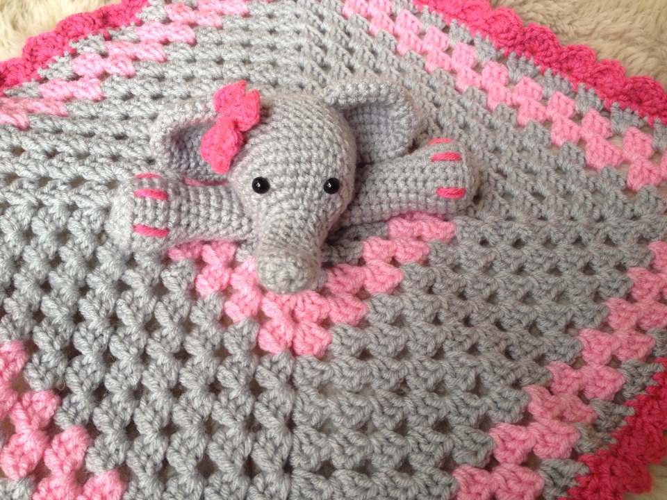 Crochet Pattern For Elephant Blanket : Crochet Elephant Lovey Security Blanket baby shower gift