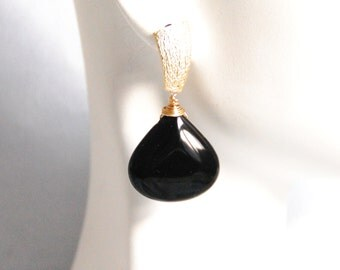 Smooth Black Onyx Dangle Drop Earrings