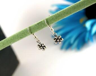 Floral Dangle Pierced Earrings, hook, flower, dainty, simple, women's, girls, silver, charm jewelry