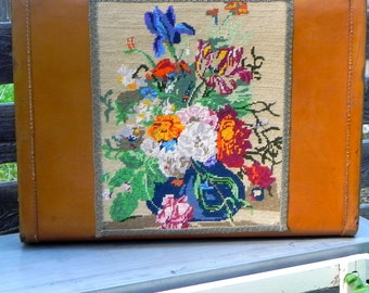 vintage needlepoint suitcase