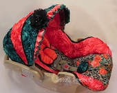 Britax B-Safe Coral Leopard Roses/Coral and Jade Satin 3D Roses Infant Car Seat Cover-Ready To Ship
