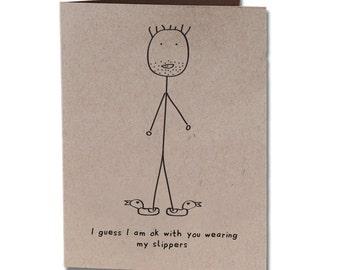 Anniversary Humor Greeting Card Slippers