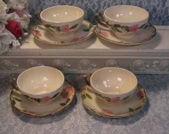 Vintage Franciscan Pottery Desert Rose Cup Saucer Set of Four, Made in USA, 1950's Dinnerware, California Pottery, Kitchen Collectible